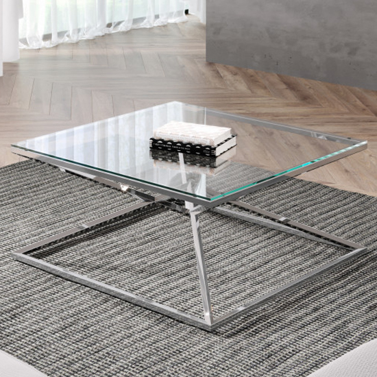 Parma Square Clear Glass Coffee Table With Silver Steel Legs