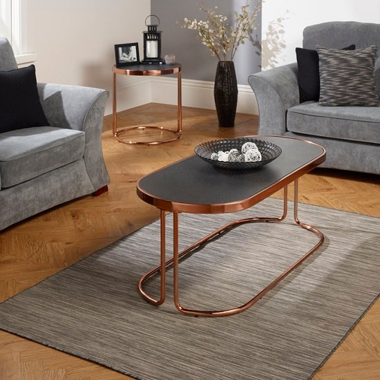 Parma Glass Coffee Table Stone Effect With Rose Gold Base Frame