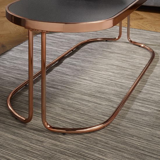 Stone Frame Coffee Table: Parma Glass Coffee Table In Stone Effect And Rose Gold Base