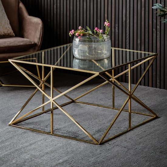 Parmost Clear Glass Coffee Table With Gold Metal Frame