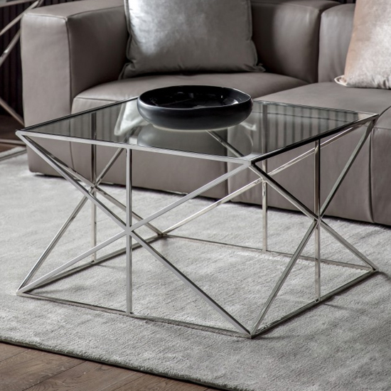 Parmost Clear Glass Coffee Table With Silver Metal Frame