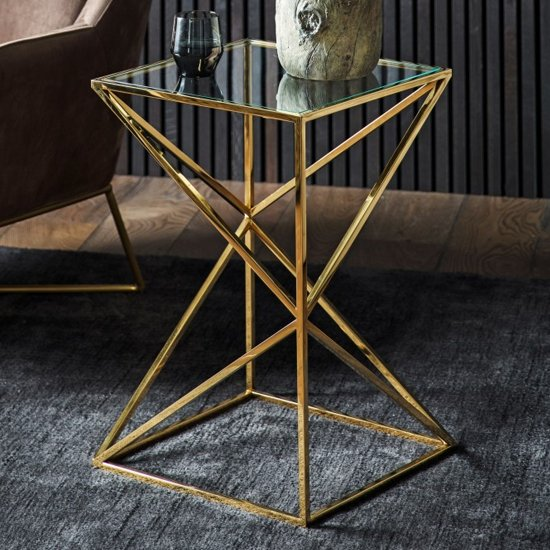 Parmost Clear Glass Side Table With Gold Metal Frame