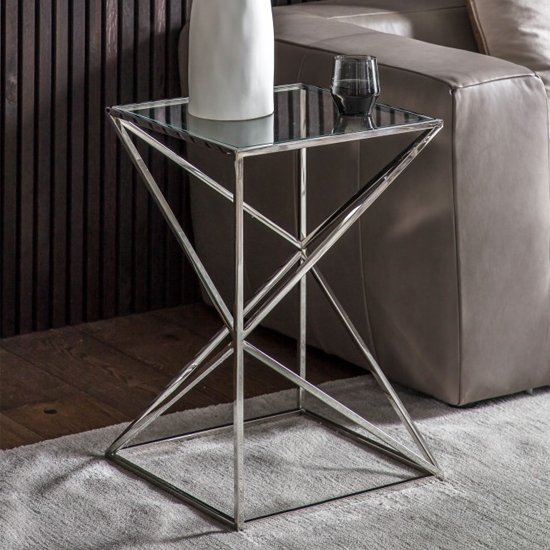 Parmost Clear Glass Side Table With Silver Metal Frame