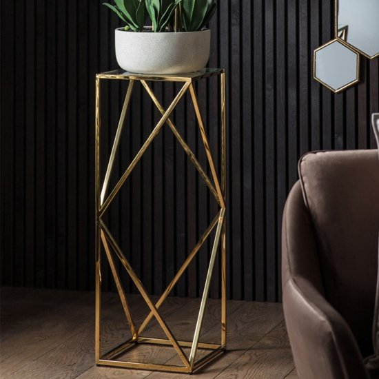 Parmost Tall Clear Glass Side Table With Gold Metal Frame