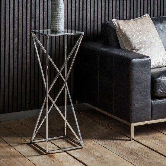 Parmost Tall Clear Glass Side Table With Silver Metal Frame