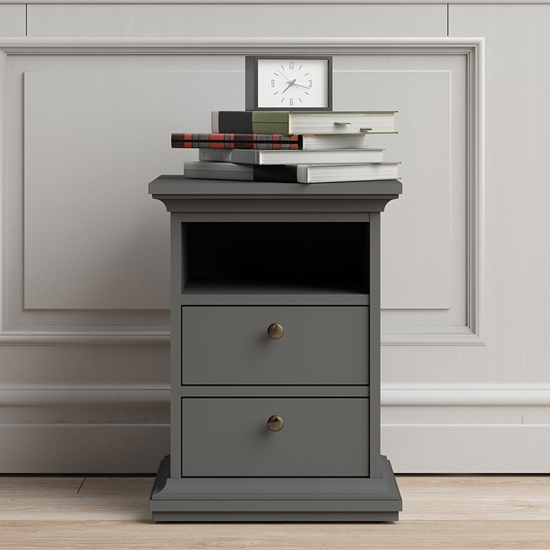 Paroya Wooden 2 Drawers Bedside Cabinet In Matt Grey