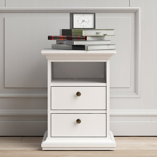 Paroya Wooden 2 Drawers Bedside Cabinet In White