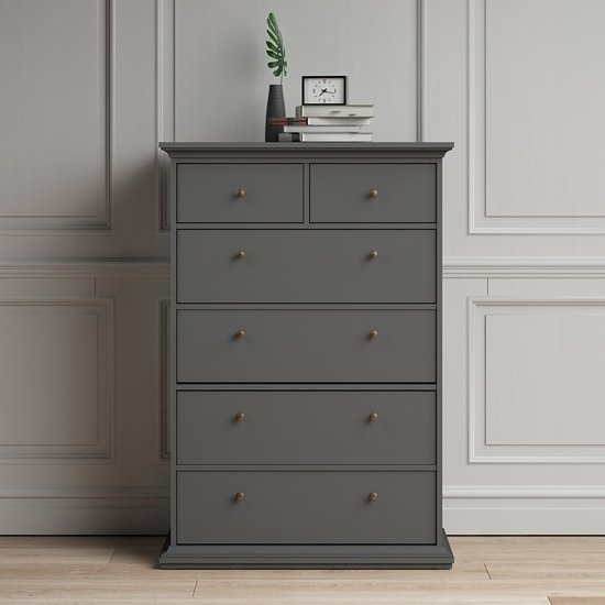 Paroya Wooden Chest Of Drawers In Matt Grey With 6 Drawers