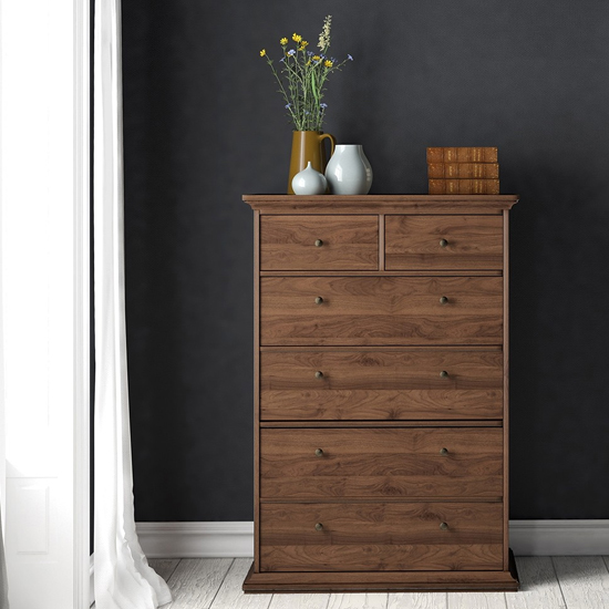 View Paroya wooden chest of drawers in walnut with 6 drawers