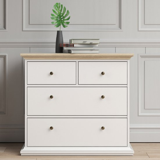 Paroya Wooden Chest Of Drawers In White And Oak With 4 Drawers