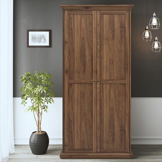Product photograph showing Paroya Wooden Double Door Wardrobe In Walnut