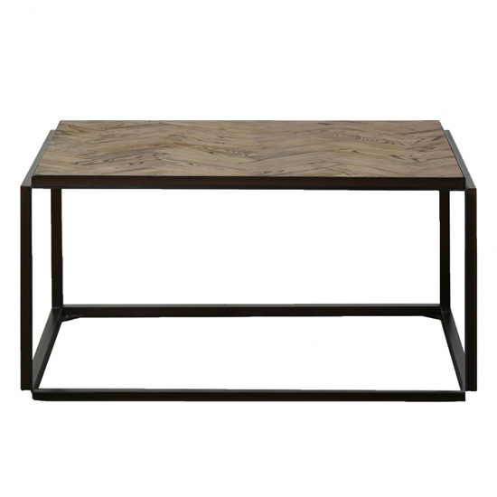 Parquet Wooden Coffee Table In Elm And Matt Black