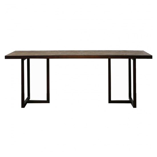 Parquet Wooden Dining Table In Elm And Matt Black_1