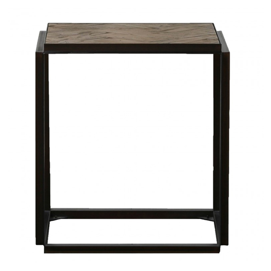 Parquet Wooden Side Table In Elm And Matt Black