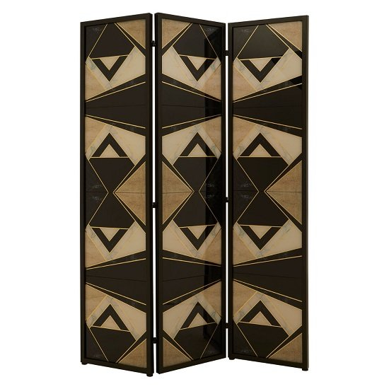Malmok Wooden Folding Patterned Black And White Room Divider