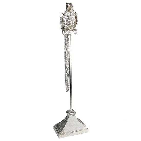 Parrot Poly Small Sculpture In Antique Silver_1