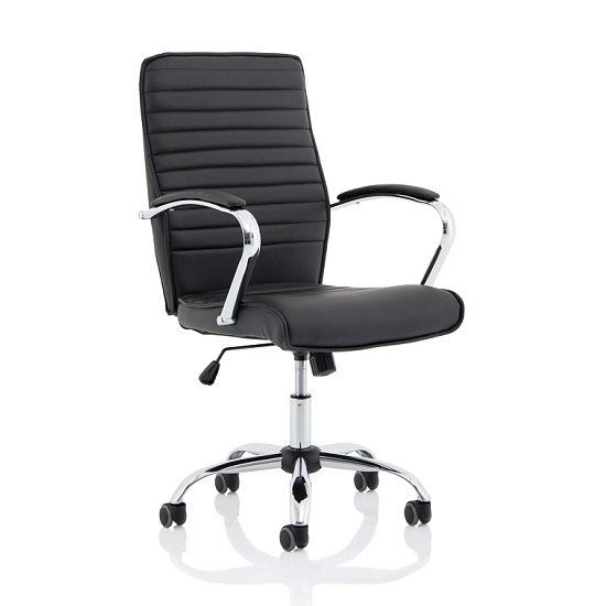 Parseta Bonded Leather Office Chair In Black With Chrome Base