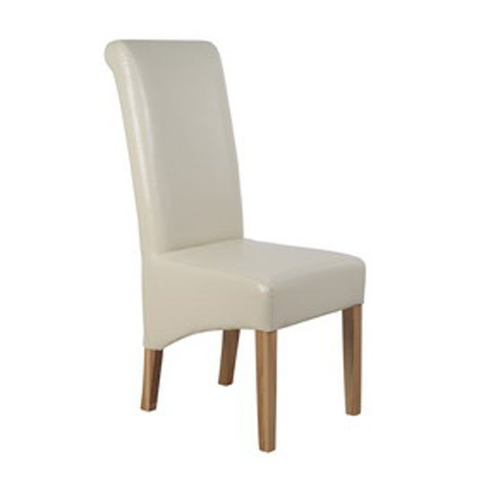 Parson faux leather cream dining chair 11915 furniture in for Leather parsons dining chair