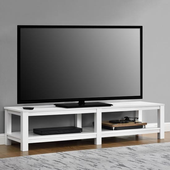 Parsons Wooden Large TV Stand In White