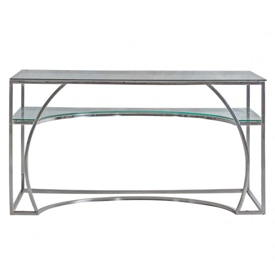 View Parton clear glass study desk with silver metal frame