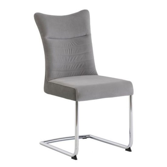 Pasadena Matt Velvet And PU Dining Chair In Grey