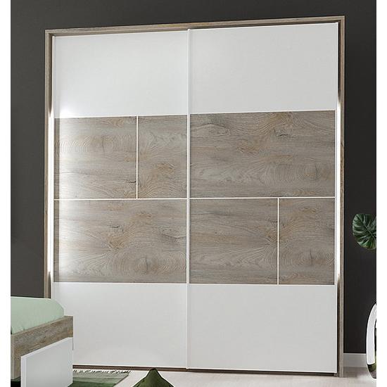 View Pasco sliding door wooden wardrobe in oak and white