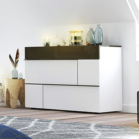 View Pasco wooden chest of drawers in grey and white high gloss