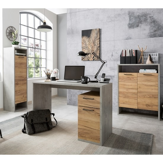 Paseo Storage Cabinet In Light Concrete Golden Oak With 2 Doors_5