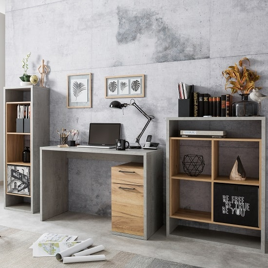 Paseo Wooden Tall Shelving Unit In Light Concrete Golden Oak_4