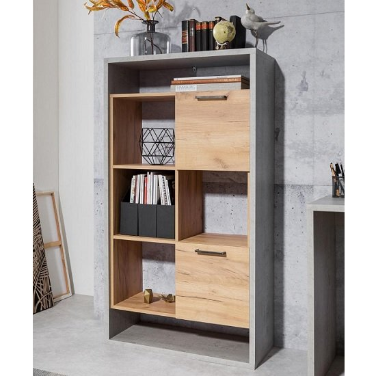 Paseo Shelving Unit In Light Concrete And Golden Oak And 2 Doors_1