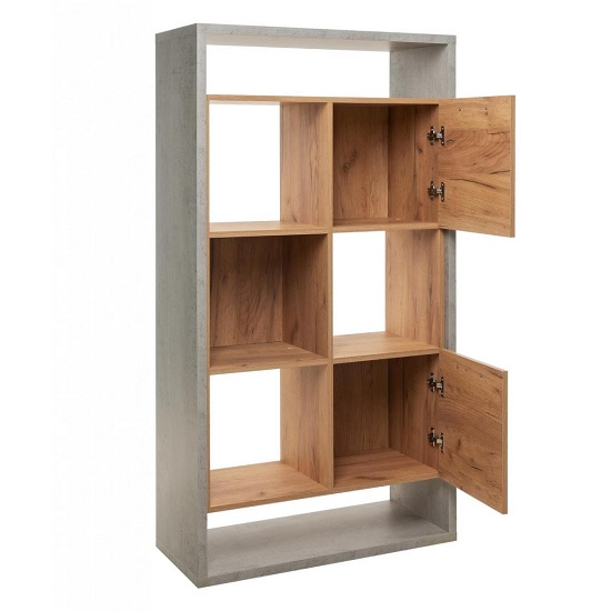 Paseo Shelving Unit In Light Concrete And Golden Oak And 2 Doors_2