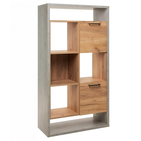 Paseo Shelving Unit In Light Concrete And Golden Oak And 2 Doors_3