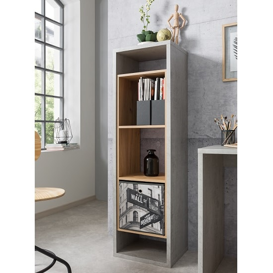 Paseo Wooden Tall Shelving Unit In Light Concrete Golden Oak