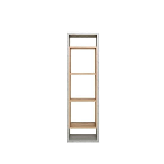 Paseo Wooden Tall Shelving Unit In Light Concrete Golden Oak_3
