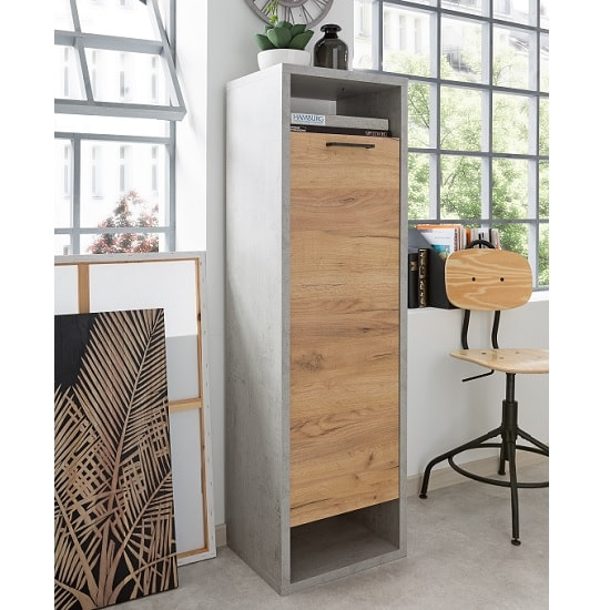 Paseo Storage Cabinet Tall In Light Concrete And Golden Oak
