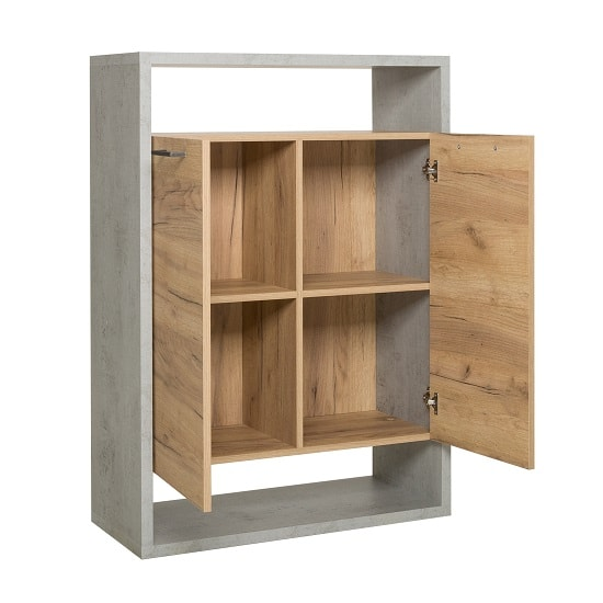 Paseo Storage Cabinet In Light Concrete Golden Oak With 2 Doors_2