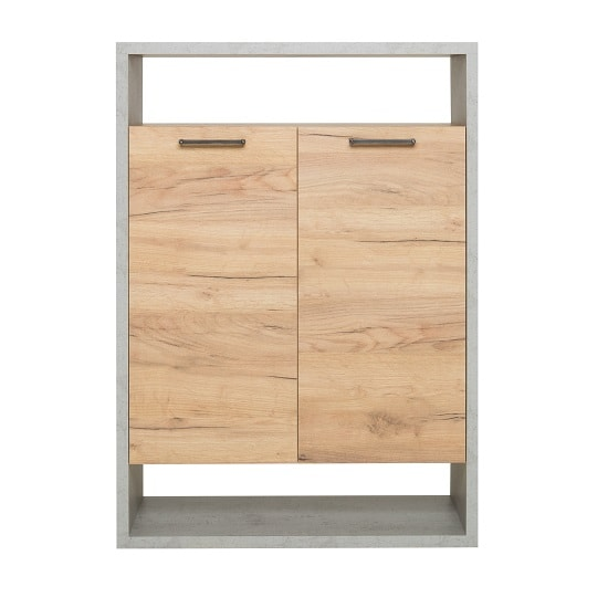 Paseo Storage Cabinet In Light Concrete Golden Oak With 2 Doors_3