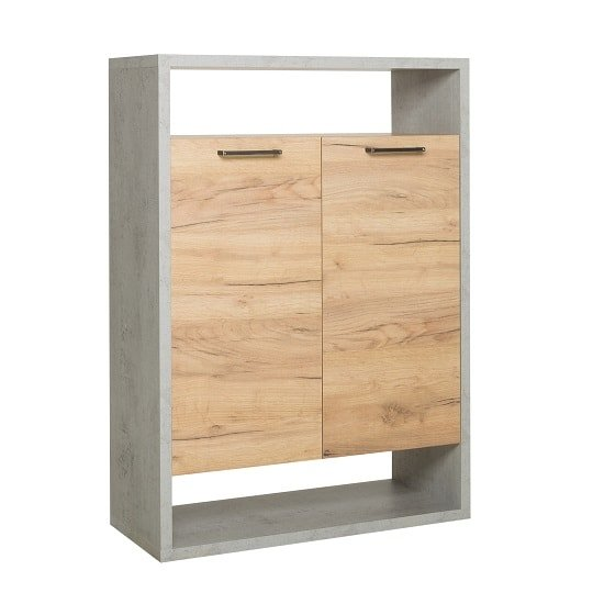Paseo Storage Cabinet In Light Concrete Golden Oak With 2 Doors_4