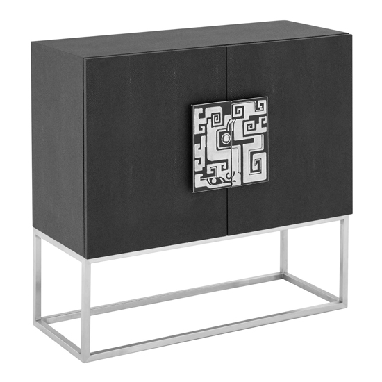 Pasico Faux Shark Skin Leather Large Storage Cabinet In Black