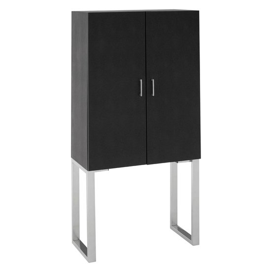 Pasico Faux Shark Skin Leather Small Storage Cabinet In Black