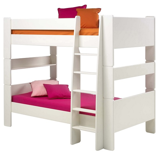 Pathos Wooden Bunk Bed In White With Ladder