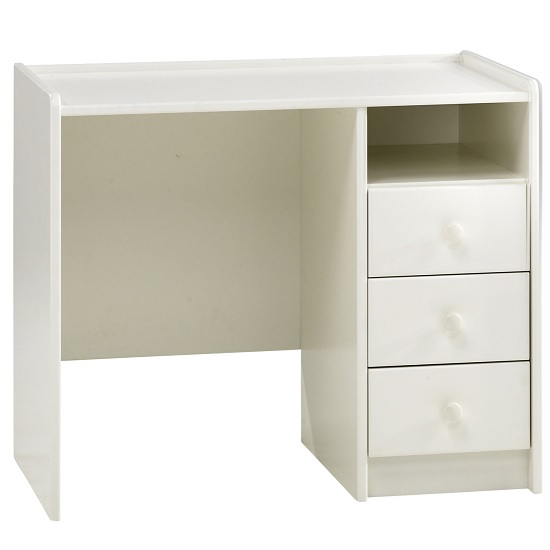 Pathos Wooden Childrens Desk In White With 3 Drawers