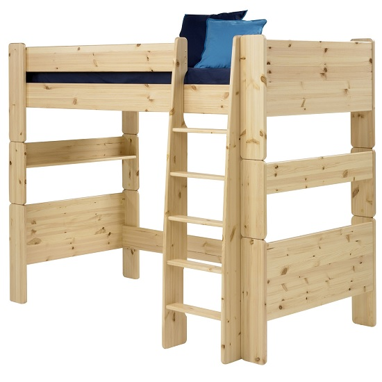 Pathos Wooden High Sleeper Bed In Pine With Ladder