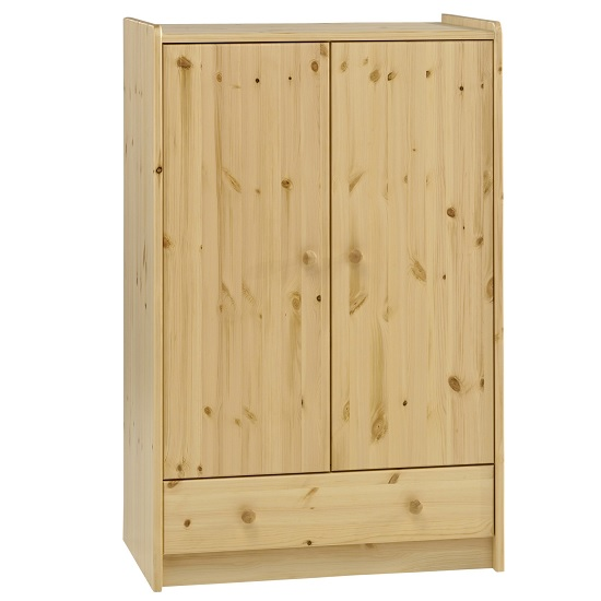Image of Pathos Wooden Childrens Wardrobe Low In Pine