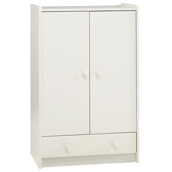Image of Pathos Wooden Childrens Wardrobe Low In White