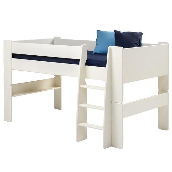 Pathos Wooden Mid Sleeper Bed In White With Ladder