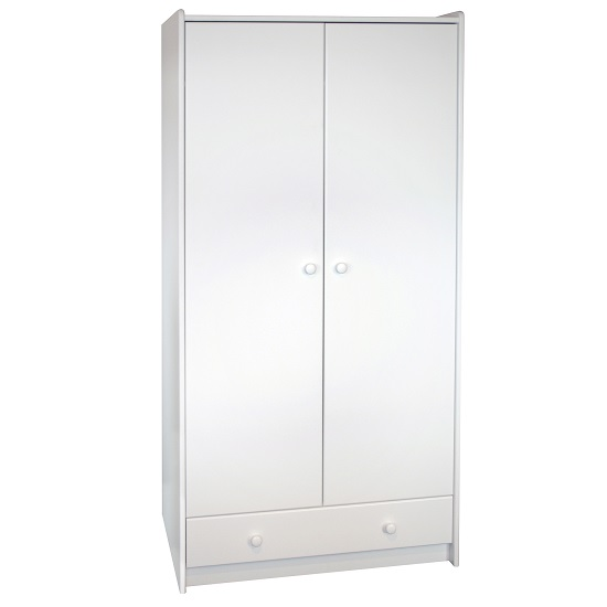 Image of Pathos Wooden Childrens Wardrobe Tall In White