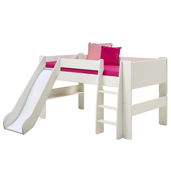 Pathos Wooden Mid Sleeper Bed In White With Ladder And Slide
