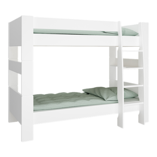 Pathos Wooden Bunk Bed In Pure White With Ladder