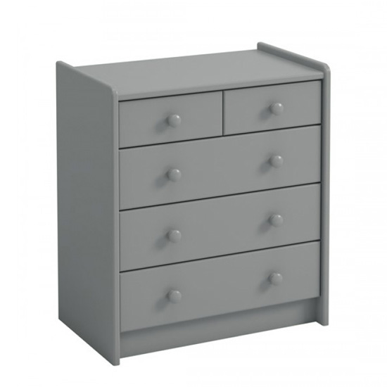 Pathos Wooden Chest Of Drawers In Grey With 5 Drawers